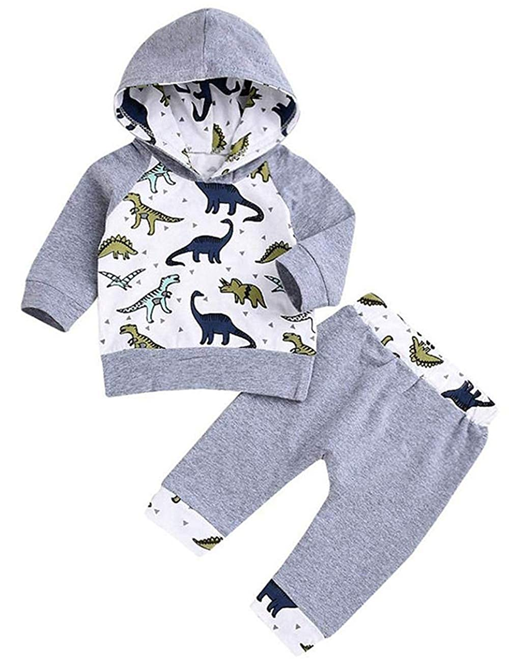Newborn Baby Boy Girl Clothes Long Sleeve Dinosaur Hooded T-Shirt Tops + Cute Pants 2PCS Outfit Set Xuuly