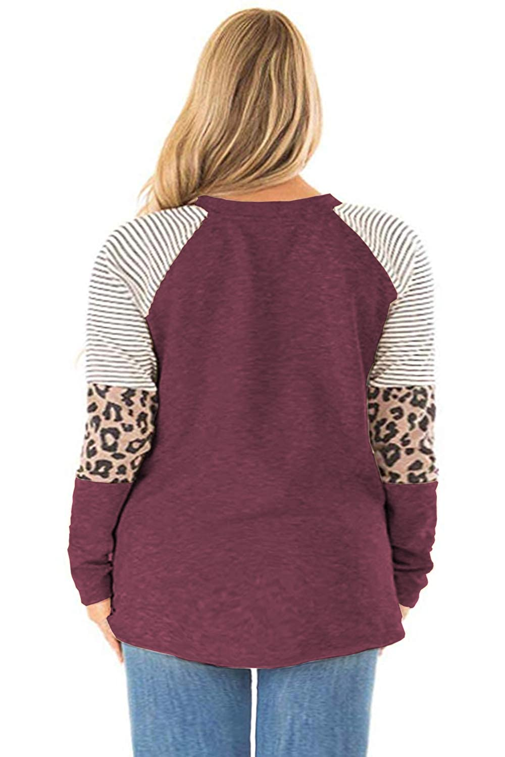 CINVIAL Womens Plus Size Tops Leopard Print Color Block Striped Tunic Long Sleeve T Shirts