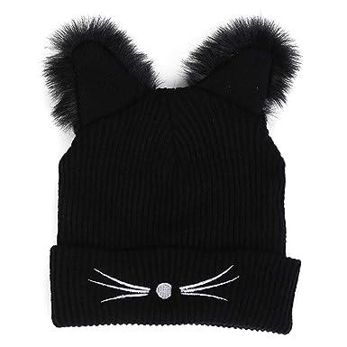 e697b1da763 Mengonee Couvre-Chef Chapeaux d oreille de Chat Knitting Casquettes Femmes  Filles Mini Beanies