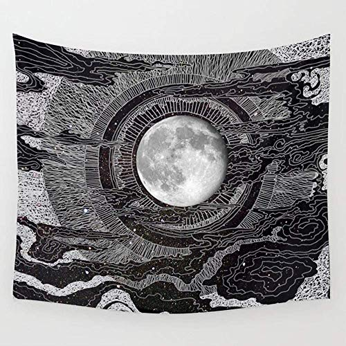 (APHER APHER Moon and Star Tapestry Wall Hanging Clouds Tapestry Black and White Wall Blanket Wall Art for Living Room Bedroom Dorm Room Home Decor (50