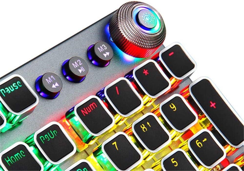 Cigkany-HO Mechanical Gaming Keyboard Punk Keycap Blue//Brown Switch 104 Keys Mechanical Gaming Keyboard with Backlit//Volume Knob Color : Photo Color, Size : Brown Switch