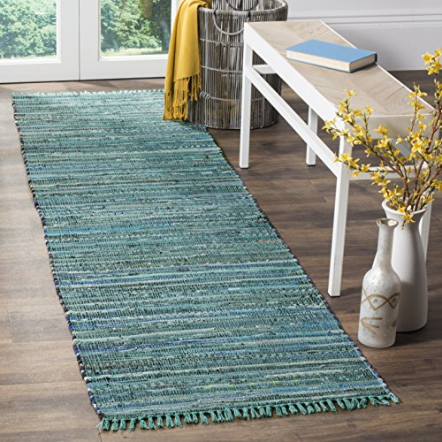 (Safavieh Rag Rug Collection RAR127C Hand Woven Turquoise and Multi Cotton Runner (2'3