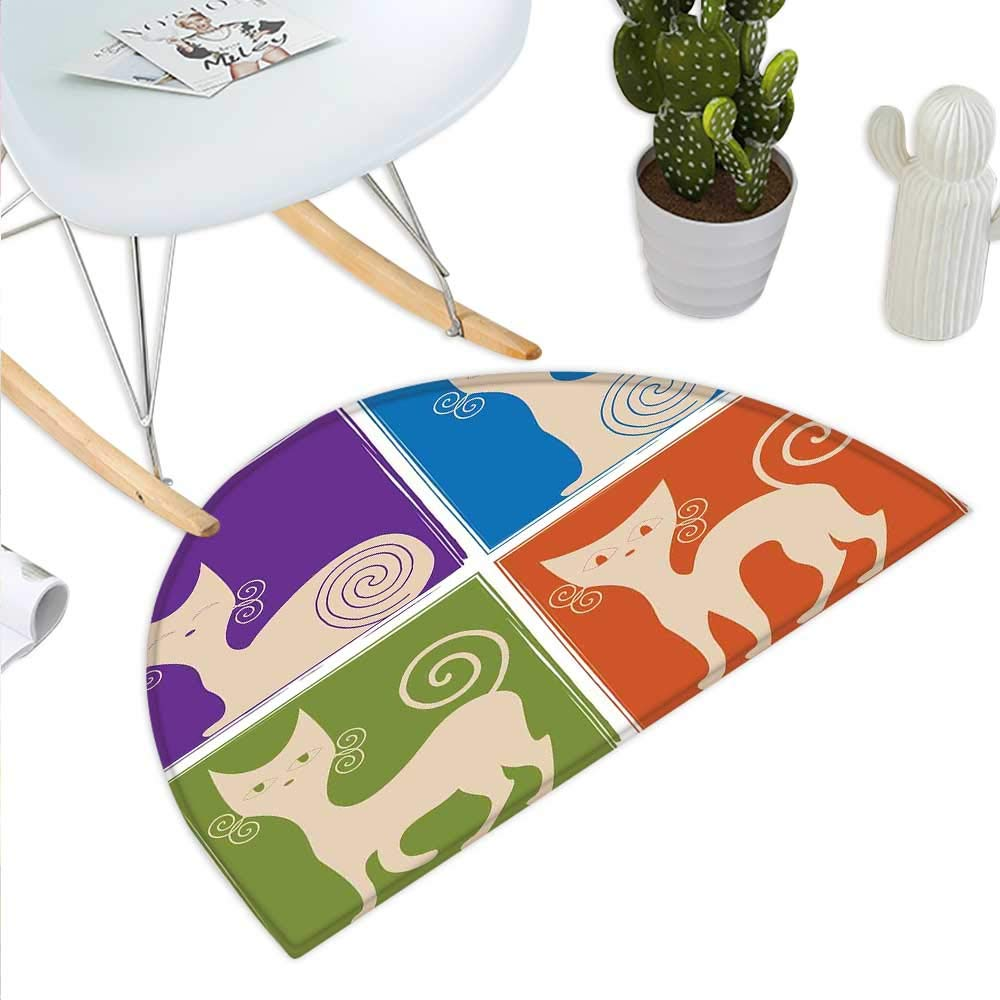 color14 H 43.3  xD 64.9  Funky Semicircle Doormat Retro 80`s Memphis Fashion Style Vibrant Triangles Squares Rectangles Hipster Pop Halfmoon doormats H 27.5  xD 41.3  Multicolor