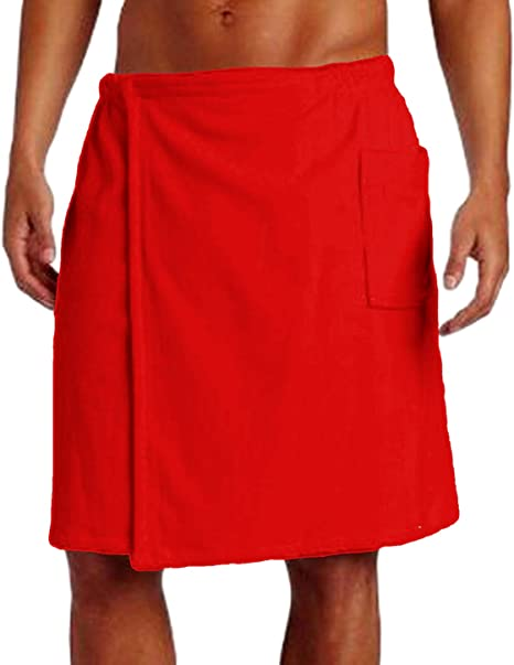 Amazon.com: Pure Cotton Terry Shower Wrap Towel, Spa Mens Wrap Cover Up  Towels, One Size, Red: Kitchen & Dining