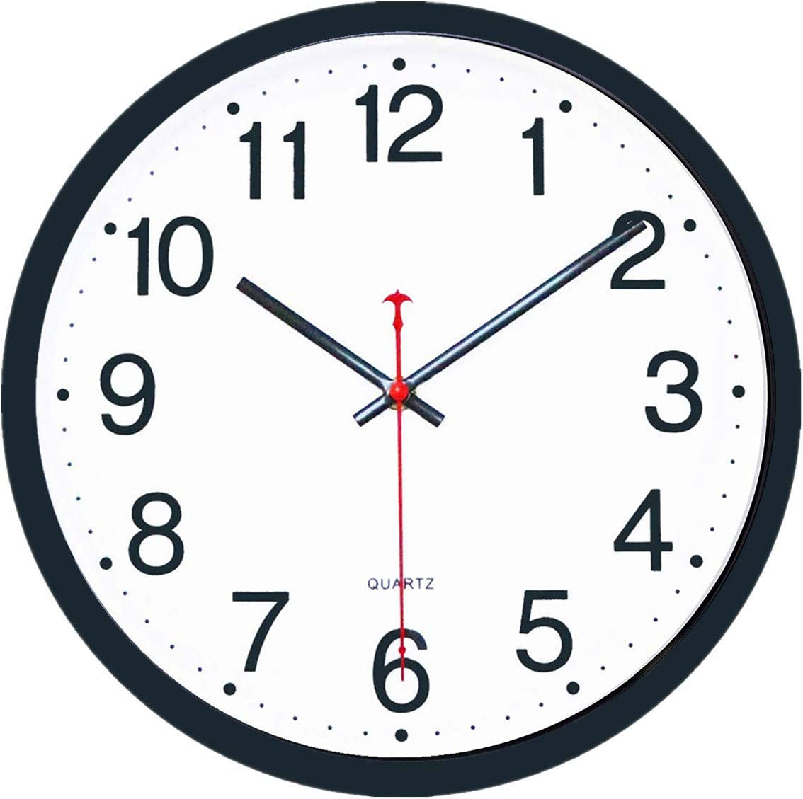 Foxtop 12 inch Silent Non-Ticking Quartz Battery Operated Round Easy to Read Black Wall Clock for Home Office Classroom School Decor