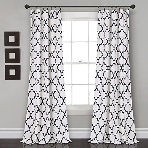 Lush Decor Bellagio Room Darkening Curtains-Trellis Geometric Design Window Panel Drapes Set for Living, Dining, Bedroom (Pair), 84