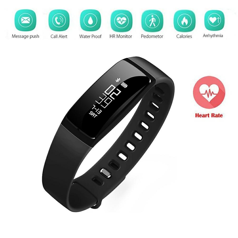 Fitness Tracker Bracciale SHKAX Activity Tracker Sport fascia da braccio con contapassi, frequenza cardiaca del monitor sonno analisi Smart Band pedometro, analisi del sonno, di spinta Message e finestra, Blau