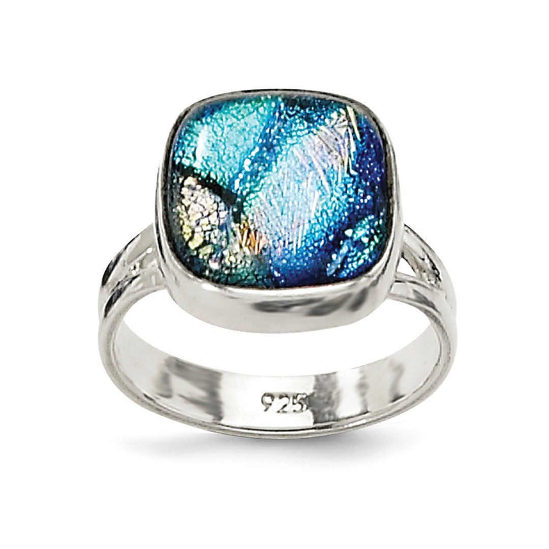 ICE CARATS 925 Sterling Silver Blue Dichroic Glass Band Ring Size 6.00 Fine Jewelry Ideal Gifts For Women Gift Set From Heart
