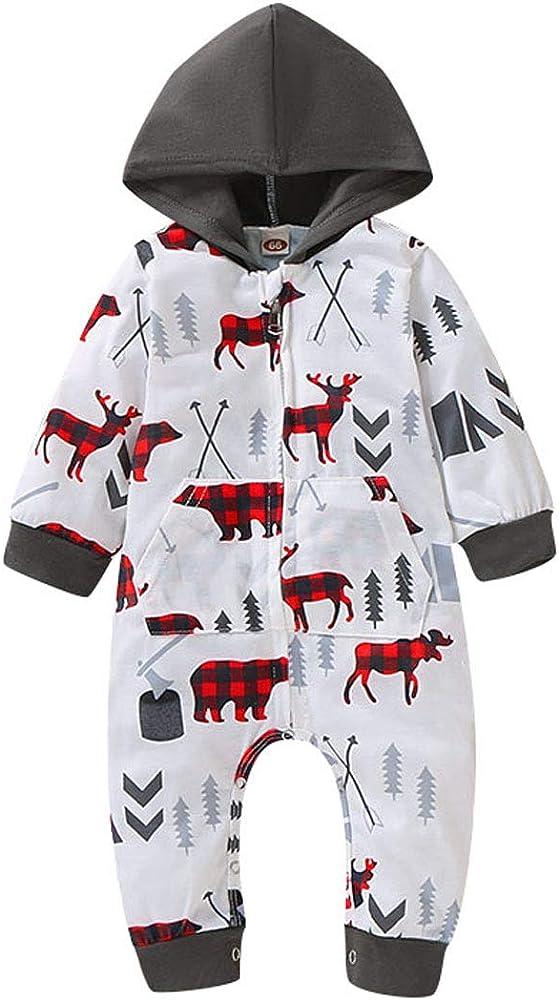 Baby Boys Girls Long Sleeve Rompers Bodysuit Print Baby Print Baby Bear Jumpsuit