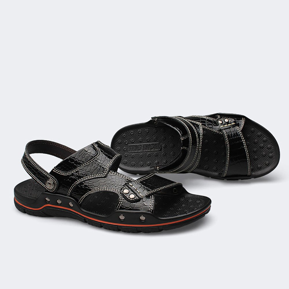 Sommer Schuhe Mann Pantoffel Sandale Strand Schuhe Sommer Open-Toe Designed Soft Echtes Leder Metall Schnalle Mode Vintage (Farbe : Dunkelrot, größe : 45) Balck 2d2b6d