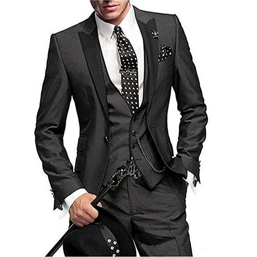 One Button 3 Pieces Charcoal Wedding Suits Notch Lapel Men Suits Groom Tuxedos Charcoal 40 chest / 34 waist