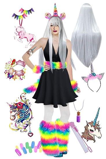 aaadd3027a950 Sexy Black Unicorn Rainbow Fur Plus Size Halloween Costume Deluxe Wig Kit 1x