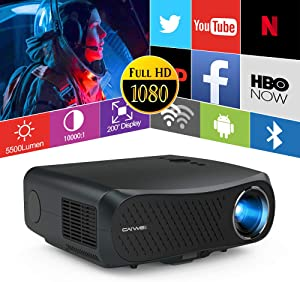 Native 1080p 5G Projector,Wireless Bluetooth WiFi Projector 7000 Lumen Support 200 Inch Display 4K Video Airplay Zoom 4D Keystone,Hdmi Outdoor Movie Projector for USB DVD Tv Laptop Home Theater Mac