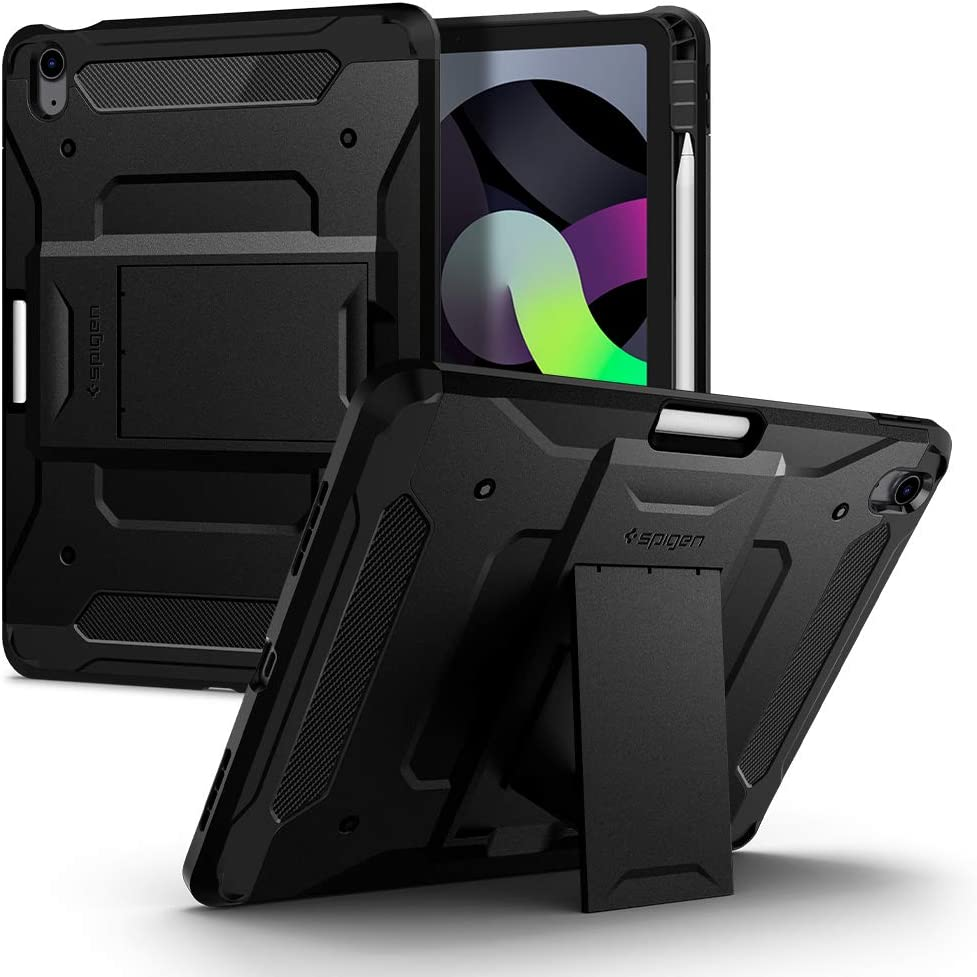 Spigen Tough Armor Pro Designed for iPad Air 4th Generation 10.9 Inch Case with Pencil Holder (2020) - Black