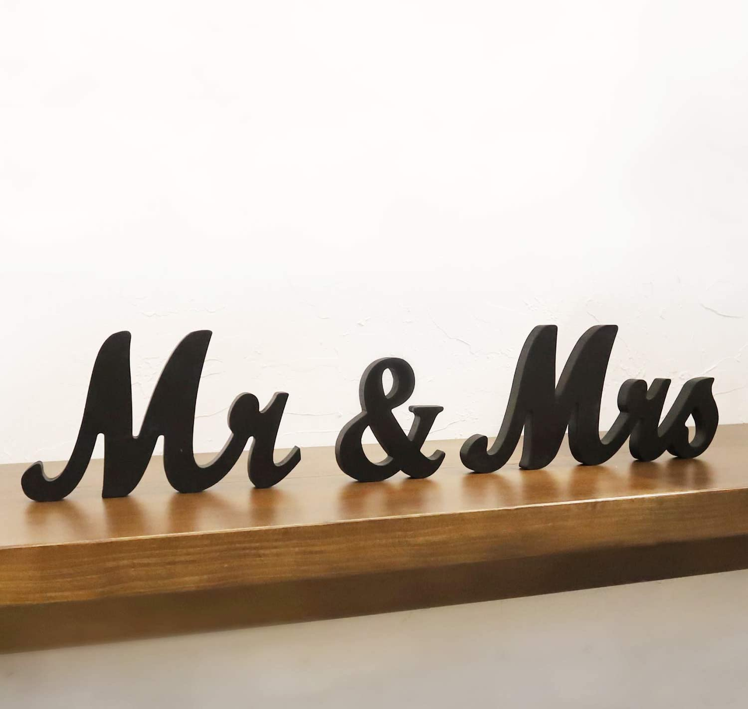 Mr Mrs Sign for Wedding Table,Mr and Mrs Wooden Letters,Large Mr. & Mrs.Party Decoration Items,Head Table Wedding Wood Letter,Just Married Sign Anniversary Party Valentine's Day Vintage Decor,Black