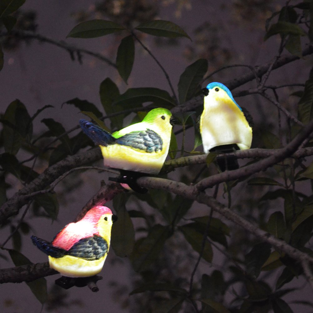 SOLAHOMF Solar Outdoor Decoration Lights- Bird Shaped Multi-colored Decoration Lights with Clip for Garden,Patio Tree Decoration Landscape Lighting, 3 Pack