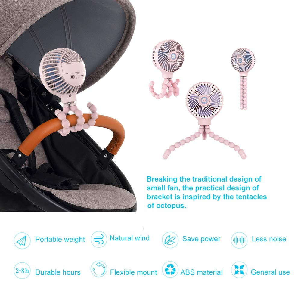 Mini Handheld Stroller Fan, HomoDesign Personal Portable Baby Bed Fan with Flexible Tripod, USB Rechargeable Desk Fan Adjustable 3 Speeds for Camping/Traveling/Office/BBQ/Gym (Pink) by HomoDesign (Image #6)