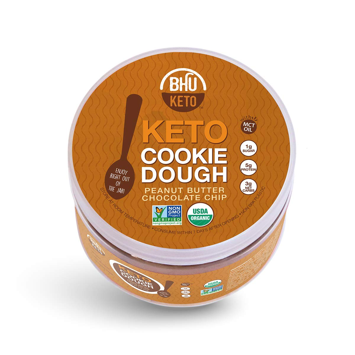 BHU Keto Protein Cookie Dough in a Jar, Peanut Butter Chocolate Chip - Organic & Vegan Snack - Clean Ingredient Dessert which are Low Carb & Low Sugar, Grain & Gluten Free, Dairy-Free, Non-GMO (9 oz)