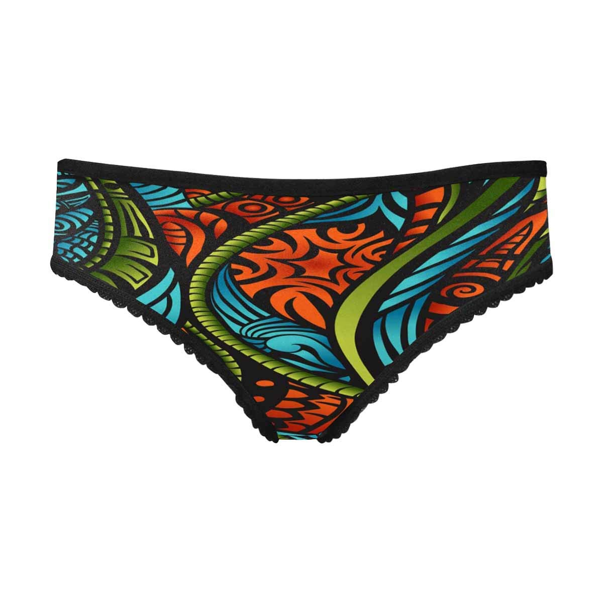 InterestPrint Women's High Cut Briefs Panties Ethnic Style S