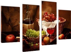 MELTBOR Wine and Fruit Multi Panel Canvas Wall Art Kitchen Still Life Decoration Room Decor - 4 Piece Set