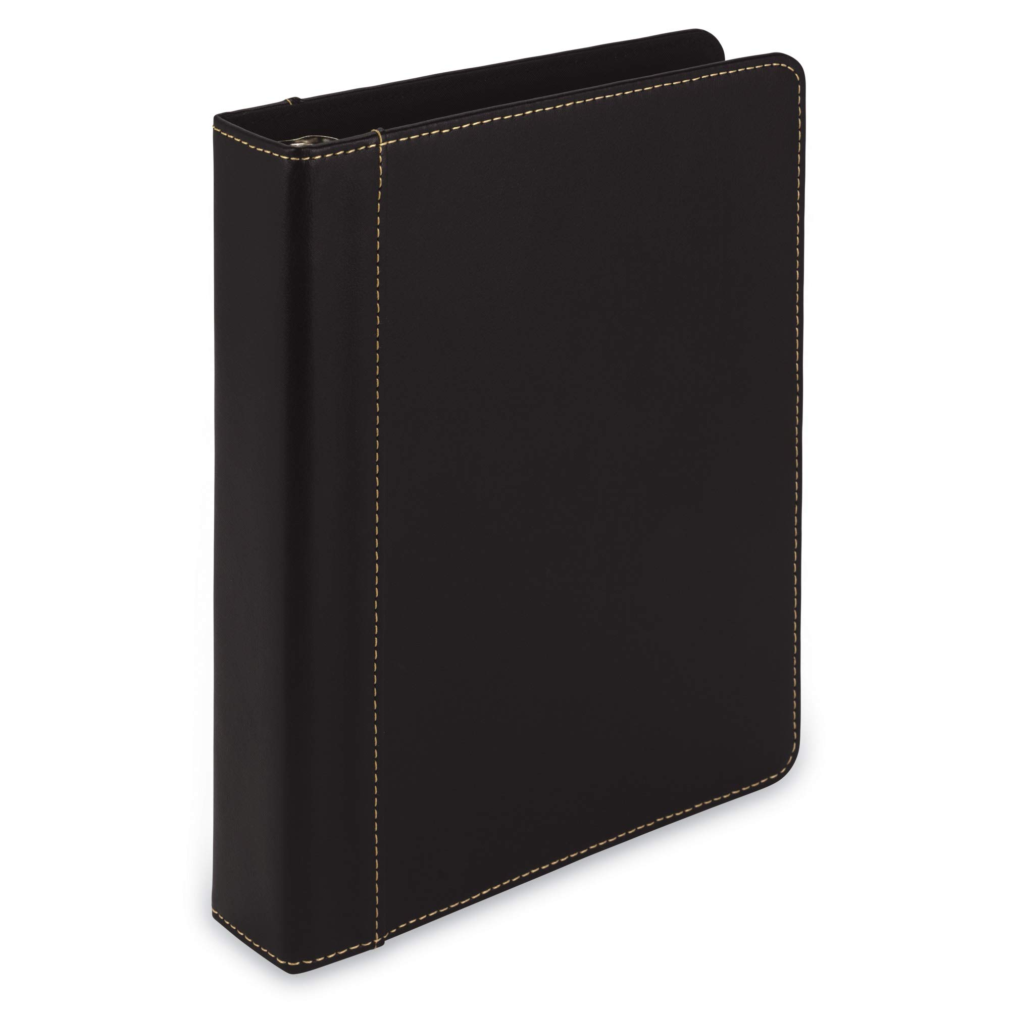 Samsill 1 Inch Mini 3 Ring Binder/Junior Planner Binder - Size 7.5'' x 9.1'' / Fits 8.5'' x 5.5'' Paper and Sheet Protectors/Hardback Notebook and Organizer Binder/Black by Samsill