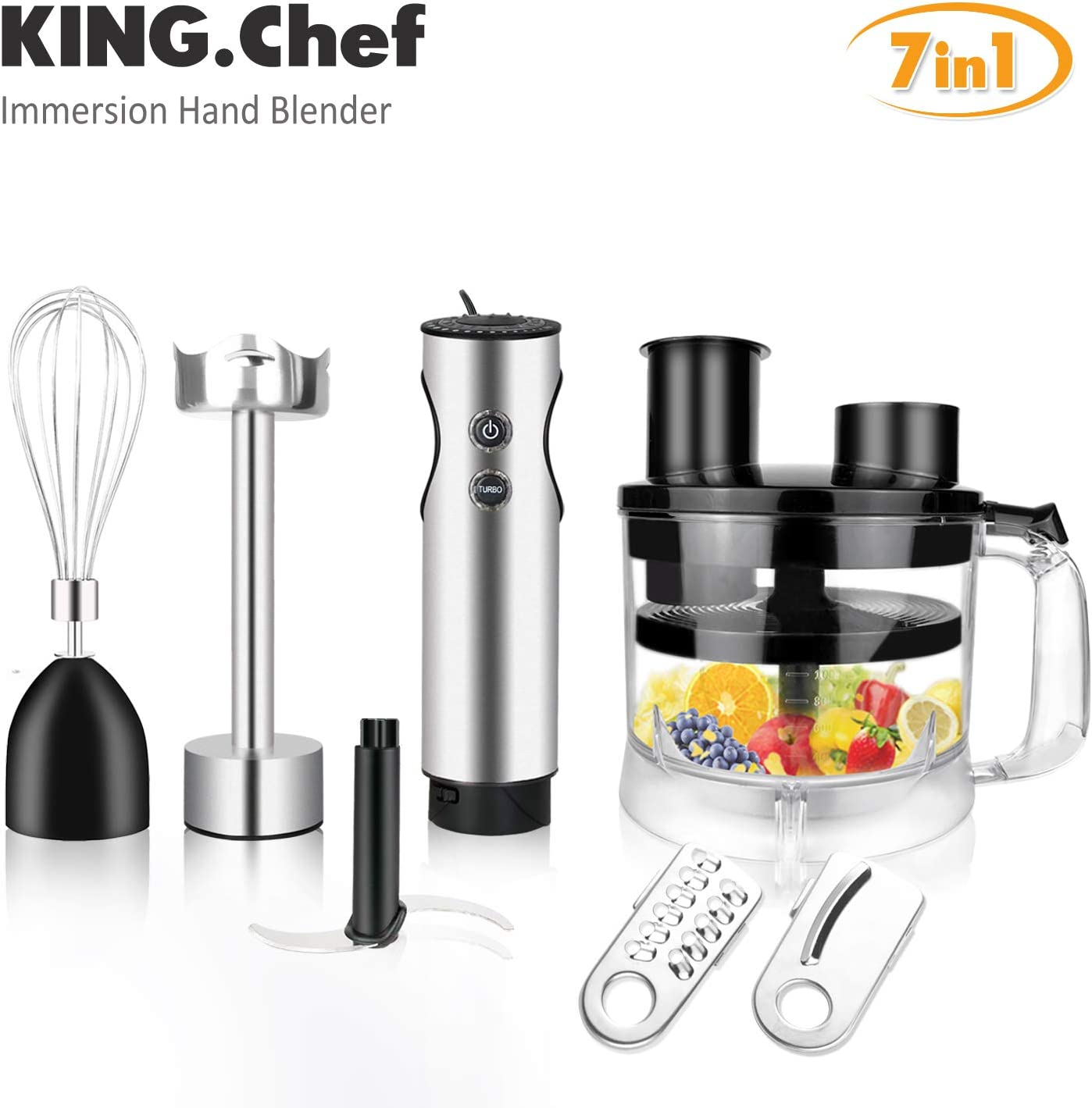 KING.Chef Powerful 7-in-1 12-speed Turbo Immersion Hand Blender,Stainless Steel Stick Blender, BPA-Free Food Processor, Egg Beater, 3 PCS Titanium Coating Blade, Ergonomic Grip Blender for Sauces Smoothie Puree Infant Food, Black