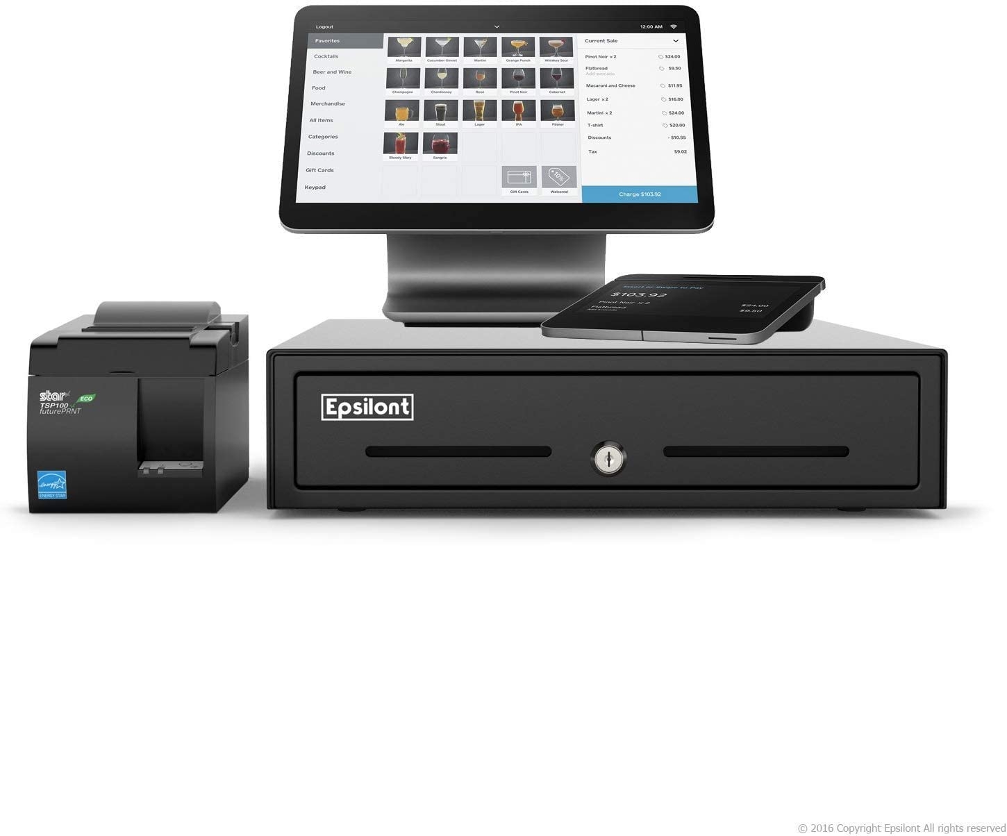 Complete Square Register - Comes with Android Based Dual Display, MAGSTRIPE, CONTACTLESS (NFC), CHIP (EMV), Star Micronics USB Receipt Printer and Epsilont Cash Drawer (Black)