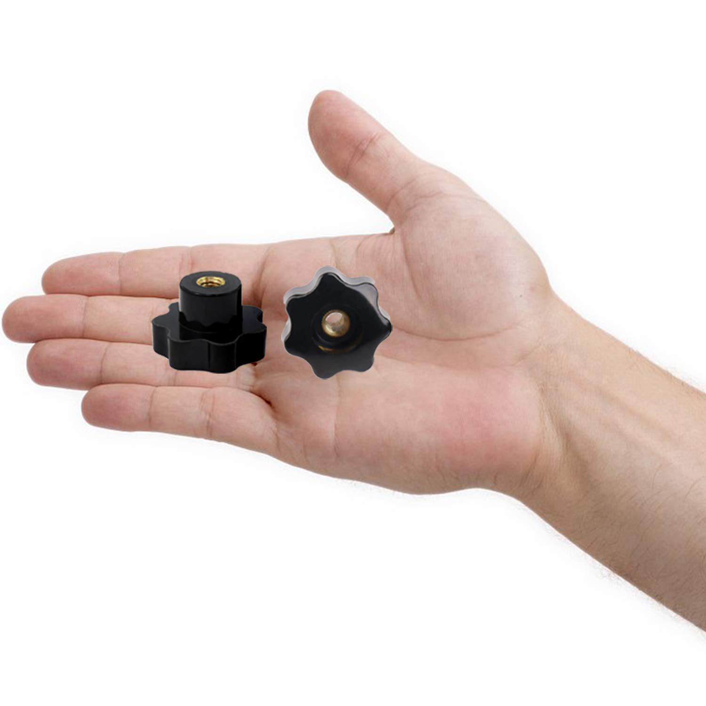 M8 YouU Pl/ástico Negro Forma de Estrella Cabeza M6//M8 Rosca Hembra Perilla de Sujeci/ón Knob Knob Handle Hand Knob Handle para M/áquina,5 Piezas