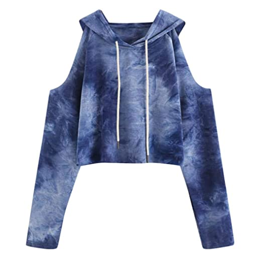 f1114b98576f72 KFSO Women s Rainbow Bloom Hoodie Cold Shoulder Strapless Sweatshirt Long  Sleeve Pullover Tops Blouse (Blue