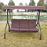 Sliverylake Outdoor 3 Person Canopy Swing Glider Hammock Patio Furniture Converting Bed Burgundy