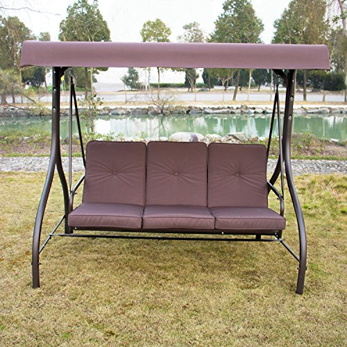 Sliverylake Outdoor 3 Person Canopy Swing Glider Hammock Patio Furniture Converting Bed Burgundy (Swing Porch Beds)