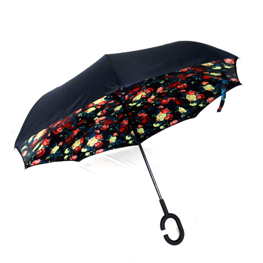 willmall Inverted傘二層Cars逆傘、UV保護、防風Sun &雨Folding Umbrellas forアウトドア旅行使用、C型のハンドル B01NBMWM1W Bellamy Red