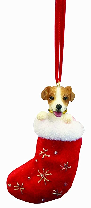 """Jack Russell Christmas Stocking Ornament with """"Santa's Little  Pals"""" Hand Painted ... - Amazon.com: Jack Russell Christmas Stocking Ornament With"""