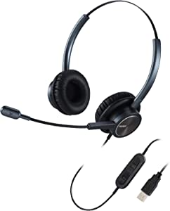 USB Headset with Microphone Noise Canceling Binaural, PC Headphone w/Mic Mute for Computer Office Call Center Business Conference Call Skype Chat Microsoft Teams Voice Recognition Speech Dictation