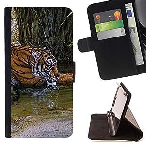 BullDog Case - FOR/Samsung Galaxy S4 Mini i9190 / - / tiger river cute fur Africa nature green /- Monedero de cuero de la PU Llevar cubierta de la caja con el ID Credit Card Slots Flip funda de cuer