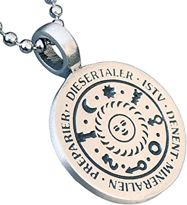 Germanic Magic Jewelry Talisman of the Sun and 7 Planets brings health wealth happiness love to the wearer Pewter Men's Pendant Necklace Good luck Charm Protection Amulet for men w Silver Ball Chain