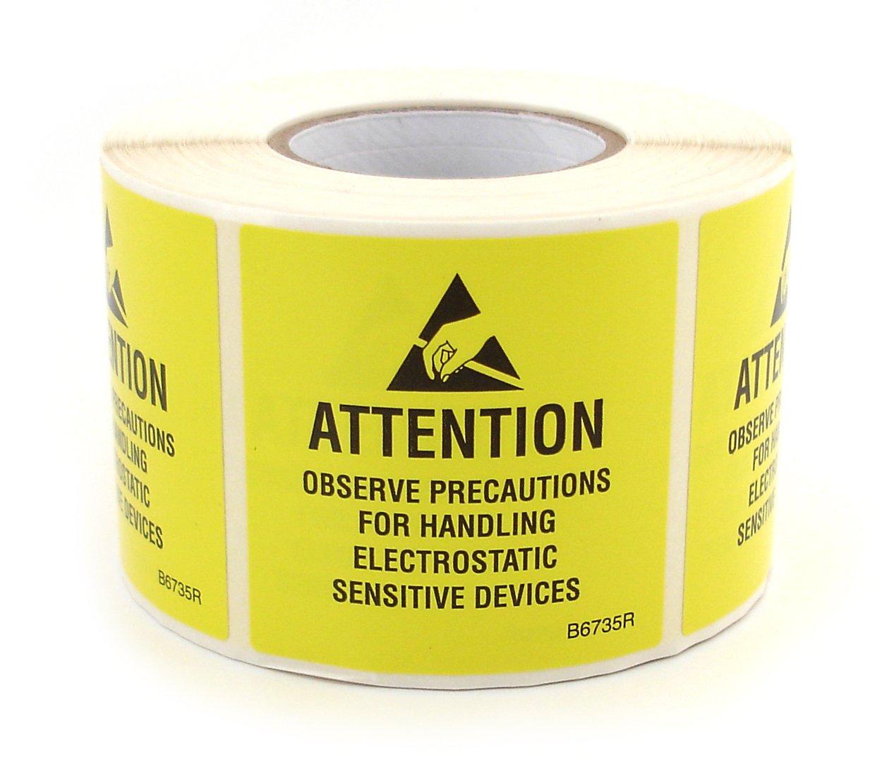 Botron B6735R Self Adhesive ESD Awareness JEDC Label Roll 2'' x 2''