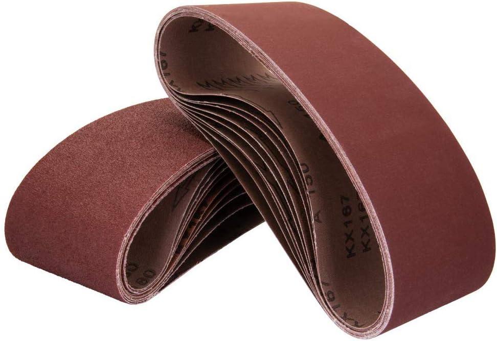 POWERTEC 110810 3 x 18 Inch Sanding Belts | 80 Grit Aluminum Oxide Sanding Belt | Premium Sandpaper for Portable Belt Sander – 10 Pack - Sander Belts -