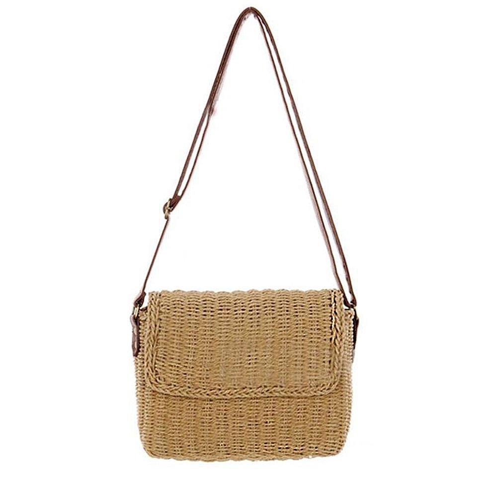 YSMYWM Women Straw Woven Handbag Shoulder Crossbody Bag Summer Beach Bag Messenger Bag Satchel (Brown)