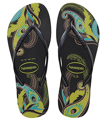 Havaianas Womens Slim Organic Sandal Flip Flop, Black/Grey 37 BR/7/8 W US (Sandals Slim Flip Flop)
