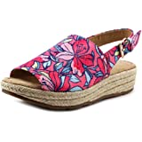 Naturalizer Praline Women W Open Toe Canvas Pink Wedge Sandal