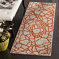 Safavieh Porcello Collection PRL7737F Light Grey and Orange Runner, 24 x 67