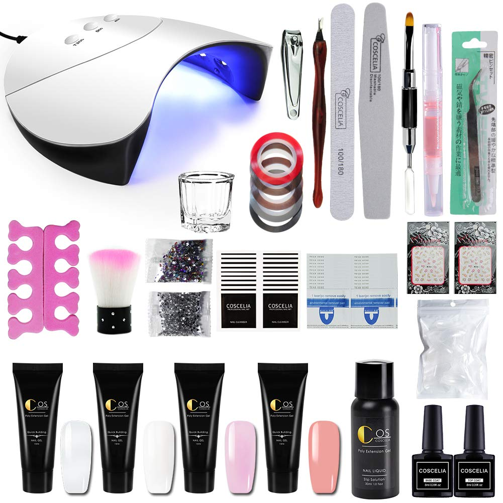 Fashion Zone 4 Colors Poly Nail Gel set with 36W LED Nail Lamp Nail Extension Gel Kit Professional Nail Technician All-in-One French Kit by Fashion Zone