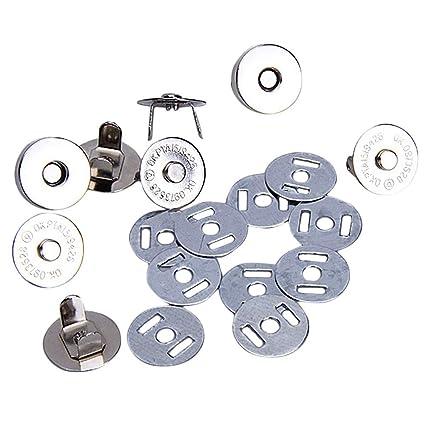 Fuerte Cierre magnético con Botones para Bolso de Mano, Cartera, 18 mm, 10 Unidades (Plata)