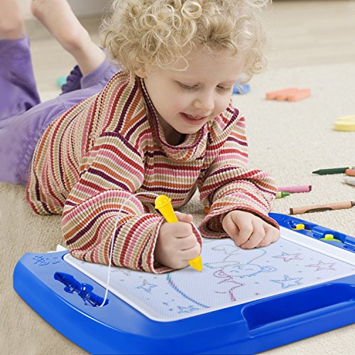 SGILE Magnetic Drawing Board, 13X16 Non-Toxic Big Magnetic Erasable Magna Doodle Toy, Assorted Colors Writing Painting Sketching Pad for Toddler Boy Girl Kids Skill Development, Blue( Extra Large) by SGILE (Image #6)