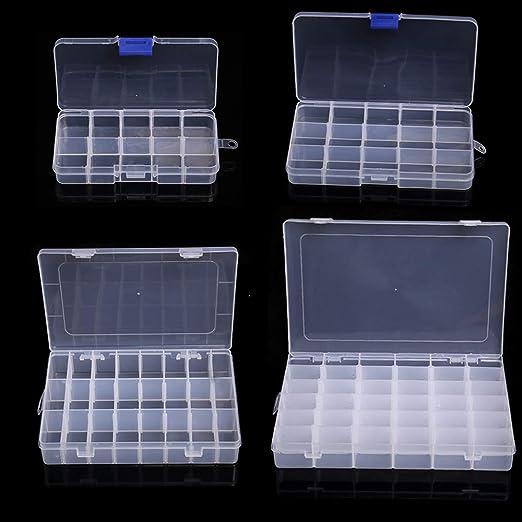 4 cajas de almacenamiento de plástico extraíbles, con compartimentos separadores ajustables, transparente, para joyas, aretes, anzuelos de pesca, pequeños accesorios (10,15,24,36 cuadrículas): Amazon.es: Hogar