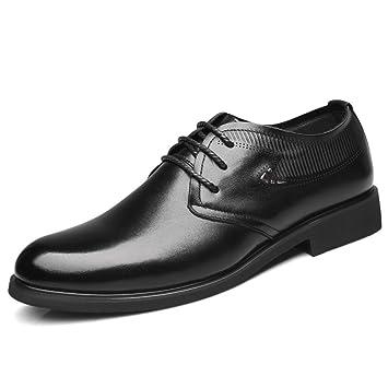 LYZGF Hommes Messieurs Printemps Et Été Affaires Loisirs Mode Vêtements De Cérémonie Dentelle Chaussures En Cuir,Black-38