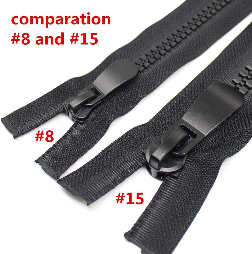 YaHoGa #8 24 Inch Two Way Separating Zipper Large Plastic Zippers for Sewing Coat Parka Down Jacket Heavy Duty Resin Zippers Bulk 24
