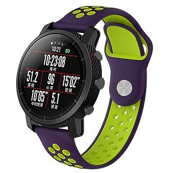 Correa de repuesto de Y56 para reloj inteligente Xiaomi Huami Amazfit, de silicona, con ventilación y ligera (no para Huami Amazfit Bip), L: Amazon.es: ...