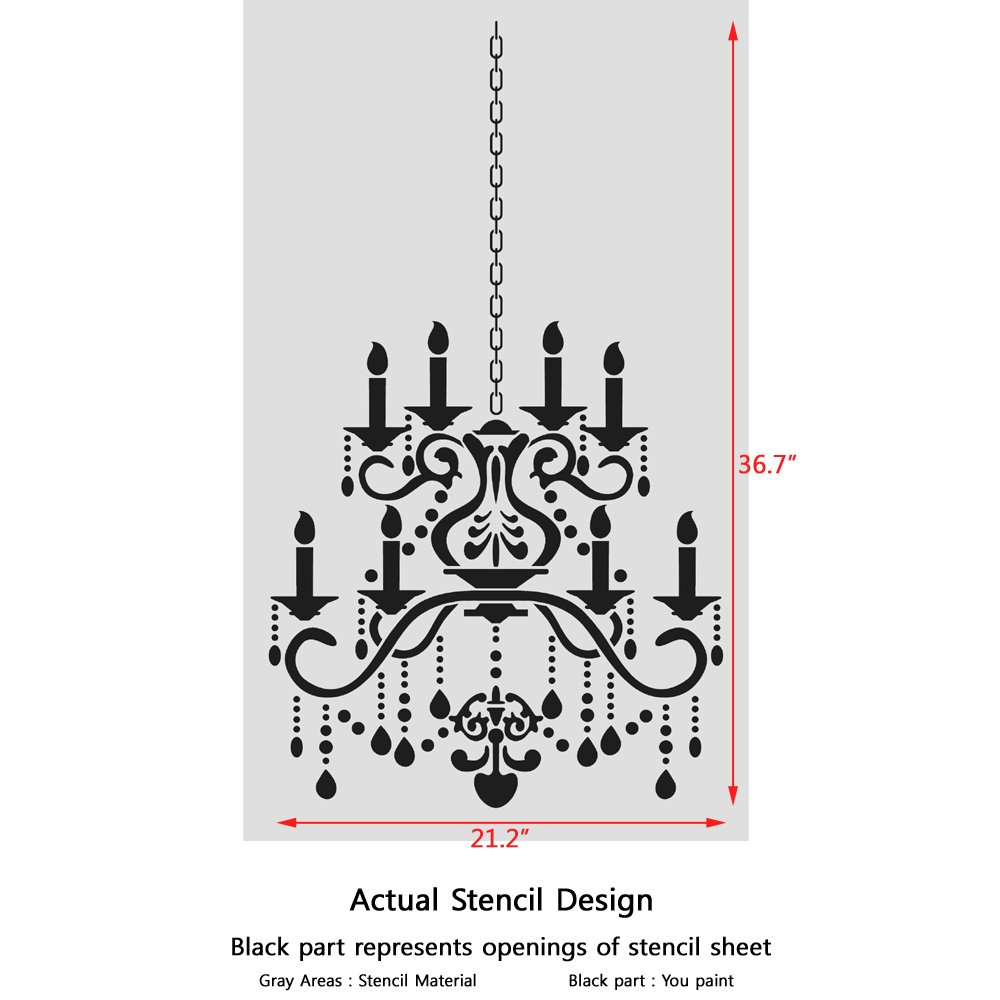 Amazon j boutique stencils wall stencil crystal chandelier amazon j boutique stencils wall stencil crystal chandelier template for diy decor better than decals arts crafts sewing aloadofball Image collections
